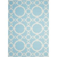 Nourison Waverly Sun & Shade Rings 7'9 x 10'10 Indoor/Outdoor Rug in Aquamarine