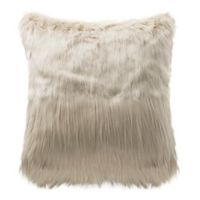 Highline Bedding Co. Madrid Faux Fur Square Throw Pillow in Ivory