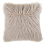 Mongolian Faux Fur Square Throw Pillow in Oatmeal