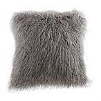 Mongolian Faux Fur Square Throw Pillow in New Grey