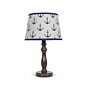 The Peanut Shell® Anchor Lamp Base And Shade In Navy/Espresso
