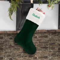 Velvet Elegance 19-Inch Christmas Stocking in Green