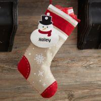 Snowman Christmas Button Christmas Stocking