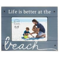 "Prinz Coastal 4-Inch x 6-Inch ""Better at the Beach"" Wood Plank Picture Frame"