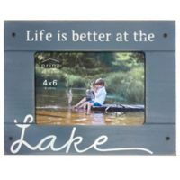 """Prinz Coastal 4-Inch x 6-Inch """"Better at the Lake"""" Wood Plank Picture Frame"""