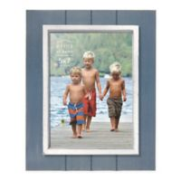 Prinz Coastal 5-Inch x 7-Inch Grooved Wood Plank Picture Frame in Blue