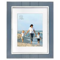 Prinz Coastal 11-Inch x 14-Inch Matted Grooved Wood Plank Picture Frame in Blue