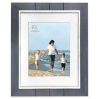 Prinz Coastal 11-Inch x 14-Inch Matted Grooved Wood Plank Picture Frame in Black