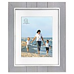 Prinz Coastal 11-Inch x 14-Inch Matted Grooved Wood Plank Picture Frame in Grey