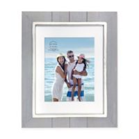 Prinz Coastal 8-Inch x 10-Inch Matted Grooved Wood Plank Picture Frame in Grey