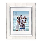 Prinz Coastal 8-Inch x 10-Inch Matted Grooved Wood Plank Picture Frame in White