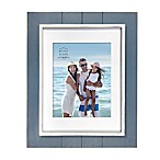 Prinz Coastal 8-Inch x 10-Inch Matted Grooved Wood Plank Picture Frame in Blue