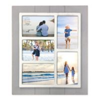 Prinz Coastal 5-Photo 4-Inch x 6-Inch Collage Grooved Wood Picture Frame in Gray