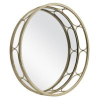 Decorative Wire 13-Inch Round Mirror in Gold