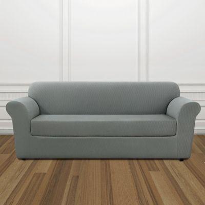 sure fit stretch lattice box cushion sofa cover in surf
