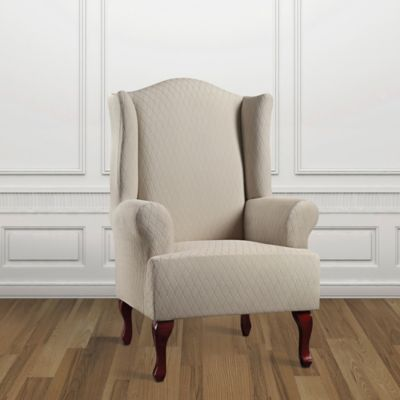 sure fit stretch lattice wing chair cover in sand dune
