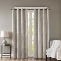 SunSmart Mirage Knitted 108-Inch Grommet Top 100% Blackout Window Curtain Panel in Grey