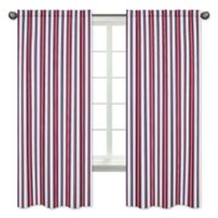 Sweet Jojo Designs Nautical Nights Stripe Print 84-Inch Window Panels (Set of 2)