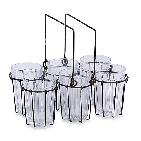 Wire Rack with 6 Glass Candleholders