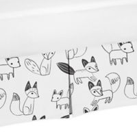 Sweet Jojo Designs Fox Print Crib Skirt in Black/White