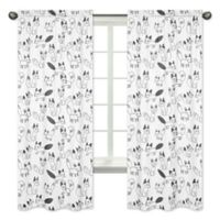 Sweet Jojo Designs Fox Print 84-Inch Window Panels in Black/White (Set of 2)