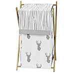 Sweet Jojo Designs Stag Laundry Hamper in Grey/White
