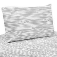 Sweet Jojo Designs Stag Wood Grain Print Twin Sheet Set in Grey/White