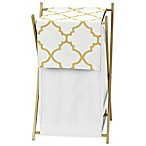 Sweet Jojo Designs Trellis Laundry Hamper in White/Gold
