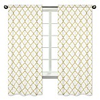 Sweet Jojo Designs Trellis 84-Inch Window Panels in White/Gold (Set of 2)