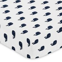 Sweet Jojo Designs Whale Fitted Crib Sheet in Navy/White