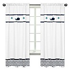 Sweet Jojo Designs Whale 84-Inch Window Panels in White/Blue (Set of 2)