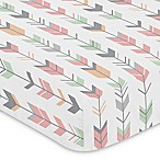 Sweet Jojo Designs Woodsy Arrow Print Fitted Crib Sheet in Coral/Mint