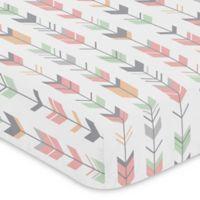 Sweet Jojo Designs Woodsy Arrow Print Fitted Crib Sheet in Coral/Mint