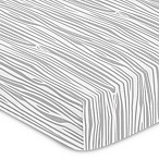 Sweet Jojo Designs Woodsy Wood Grain Print Fitted Crib Sheet in Grey/White