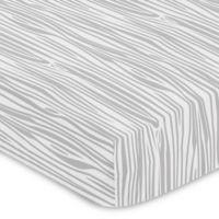 Sweet Jojo Designs Woodsy Wood Grain Print Fitted Crib Sheet in Grey/White