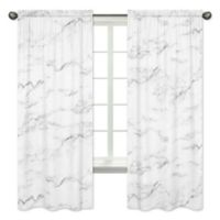 Sweet Jojo Designs Marble 84-Inch Window Panels in Black/White (Set of 2)
