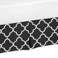 Sweet Jojo Designs Trellis Print Crib Skirt in Black/White