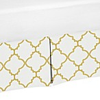 Sweet Jojo Designs Trellis Crib Skirt in White/Gold