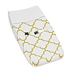 Sweet Jojo Designs Trellis Changing Pad Cover in White/Gold