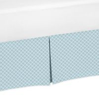 Sweet Jojo Designs Woodland Toile Lattice Twin Bed Skirt in Blue