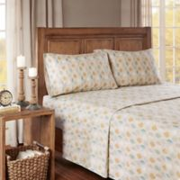 True North by Sleep Philosophy Cozy Flannel Leaves Queen Sheet Set in Tan/Green