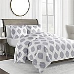 450-Thread-Count Full/Queen Duvet Cover Set in Blue Medallion