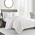 450-Thread-Count King Duvet Cover Set in Coral Ogee