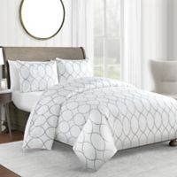 450-Thread-Count King Duvet Cover Set in Grey Ogee