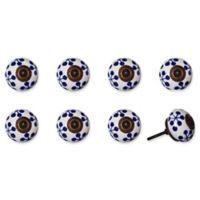 Knob-It Vintage Hand Painted 8-Pack Ceramic Knob Set in Black/White