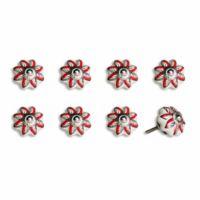 Knob-It Vintage Hand Painted 8-Pack Ceramic Knob Set in White/Red Flower