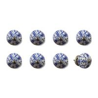 Knob-It Vintage Hand Painted 8-Pack Ceramic Round Knob Set in Blue/White/Silver