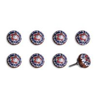 Knob-It Vintage Hand Painted 8-Pack Ceramic Knob Set in White/Blue/Red