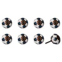 Knob-It Vintage Hand Painted 8-Pack Ceramic Knob Set in White/Blue/Bronze