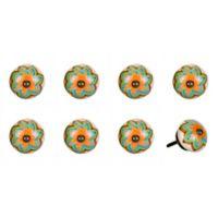 Knob-It Vintage Hand Painted 8-Pack Ceramic Round Knob Set in Green/Orange Star